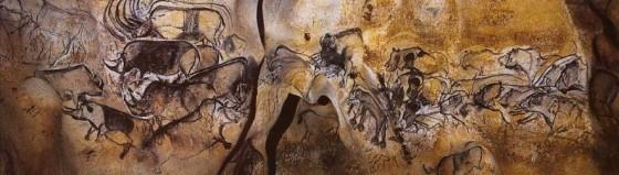 Scène de chasse de la salle du fond dans la Grotte Chauvet, animations, mouvements et interactions des lions et des bisons